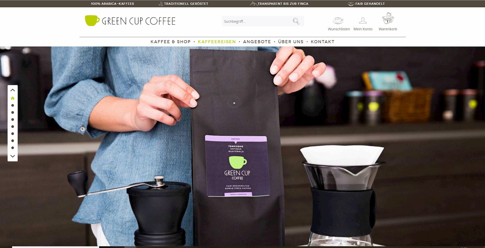 Onlineshop von Green Cup Caffee auf Shopware-Basis