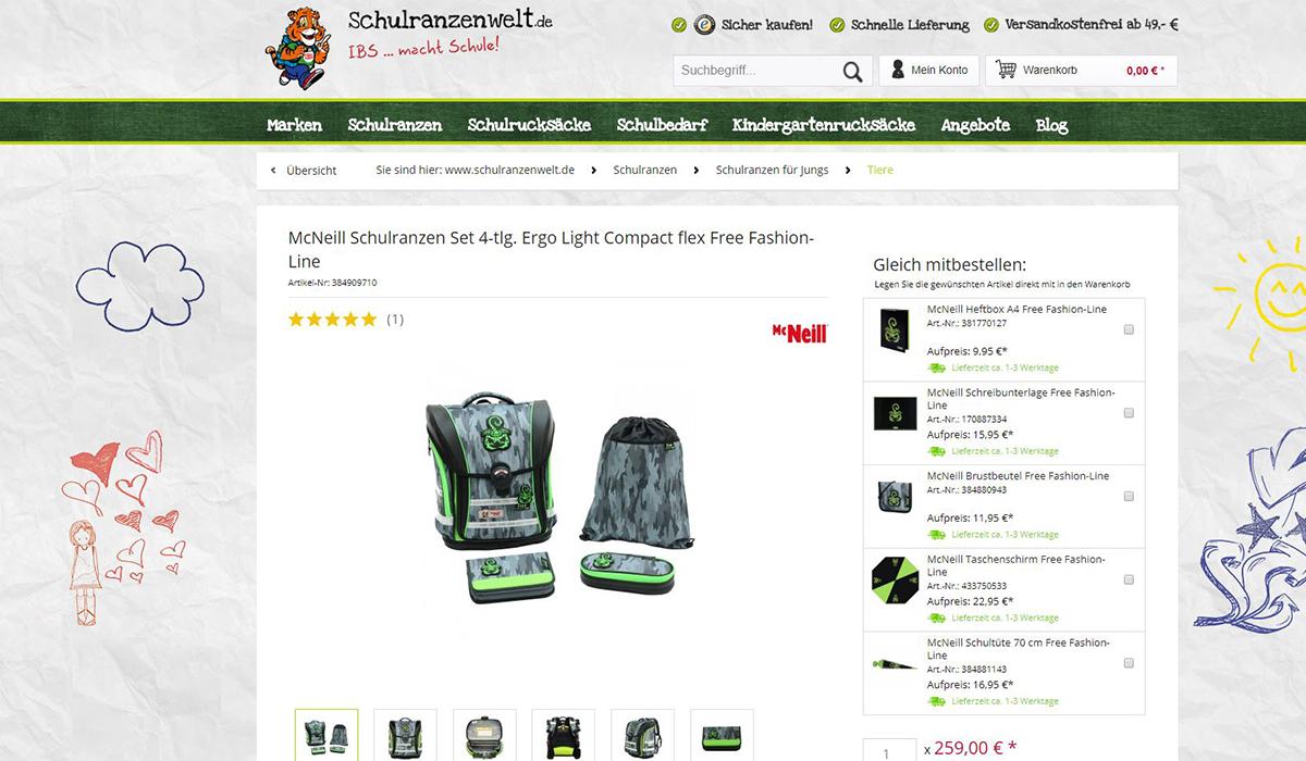 Cross-Selling im Shopware-Shop Schulranzenwelt.de