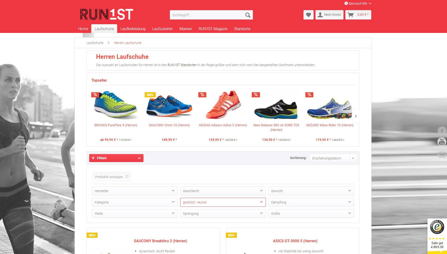 run1st-produktfilter