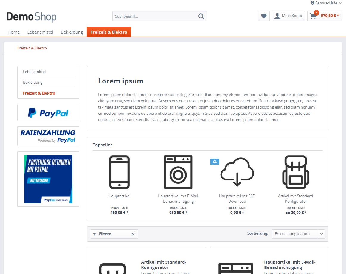 Demoshop: Kostenlose Retouren mit PayPal im Shopware-Shop einbinden