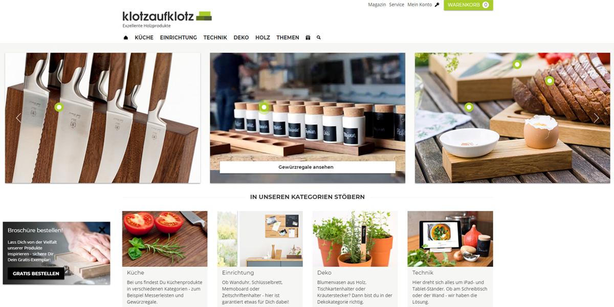 Screenshot des Shopware-Shops klotzaufklotz