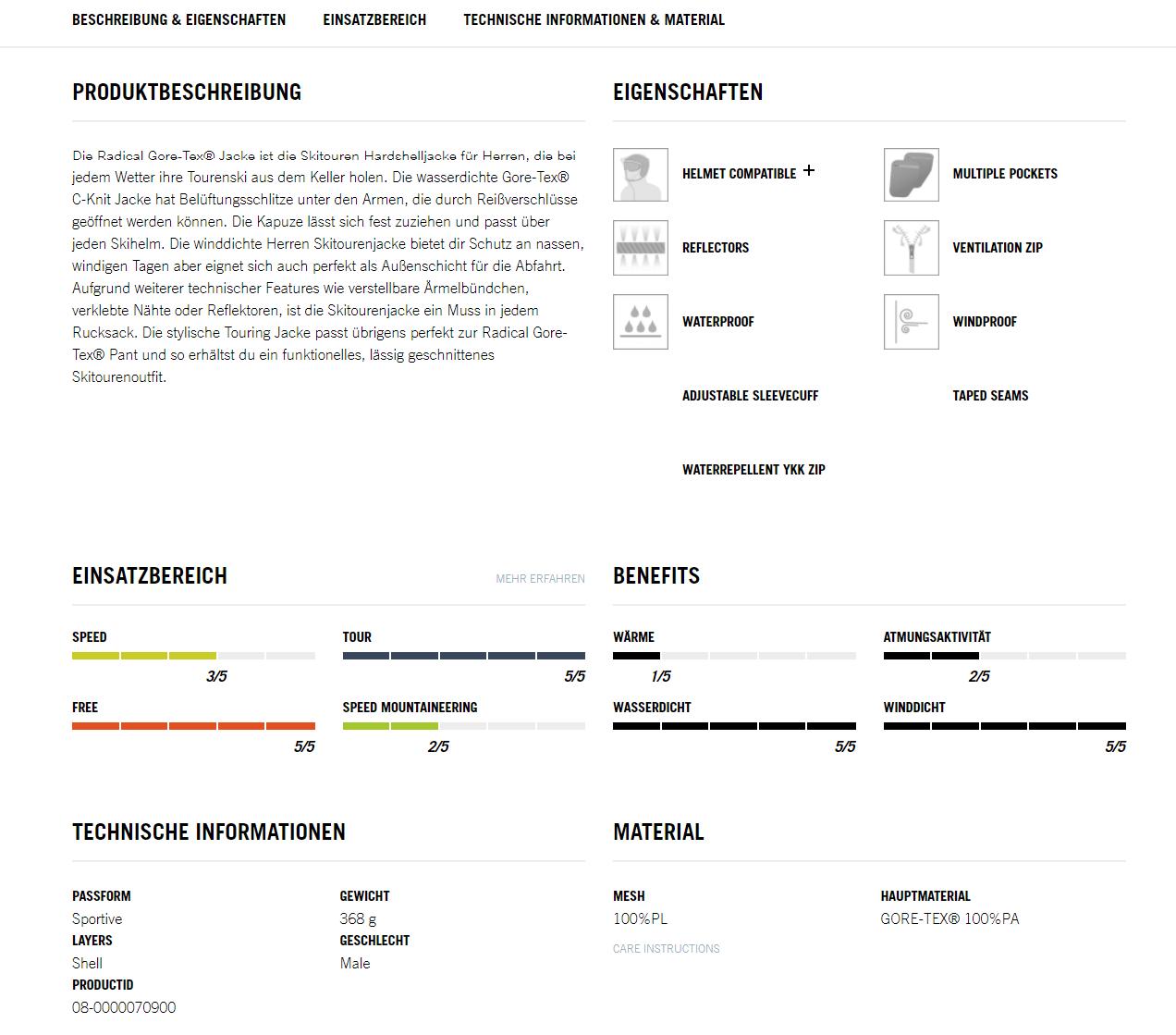 Produktdetailseite von Dynafit