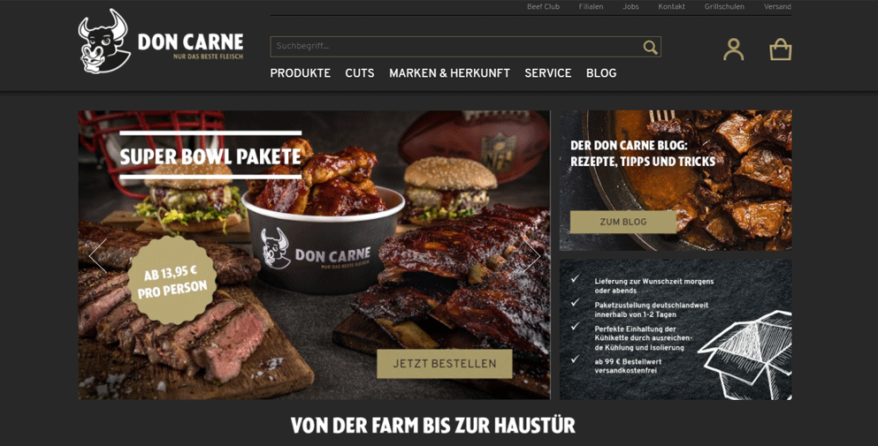 Shopware Shop Don Carne im Shop-Award-Fina le