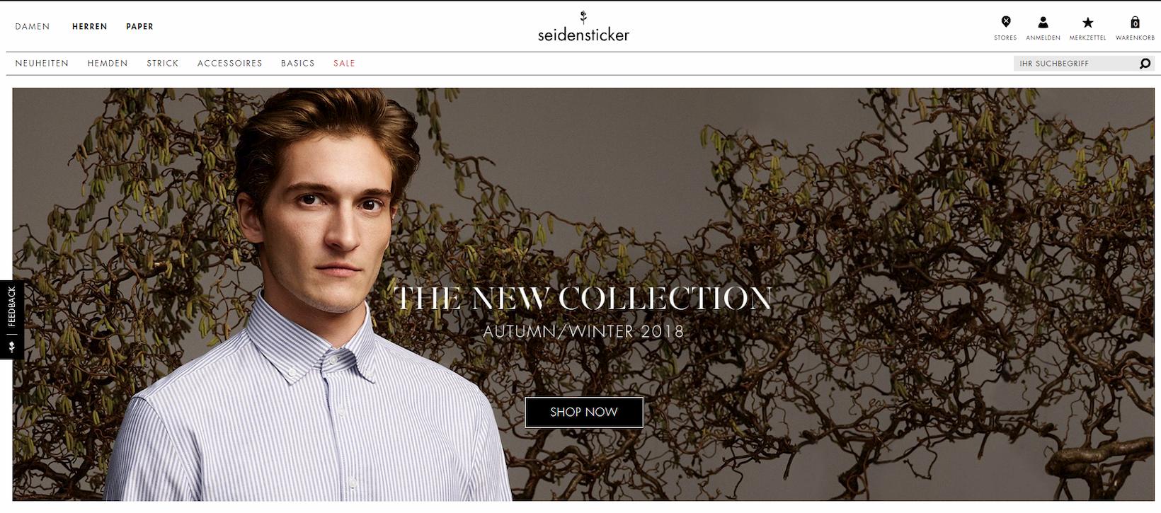 Onlineshop von Seidensticker auf Basis von Shopware