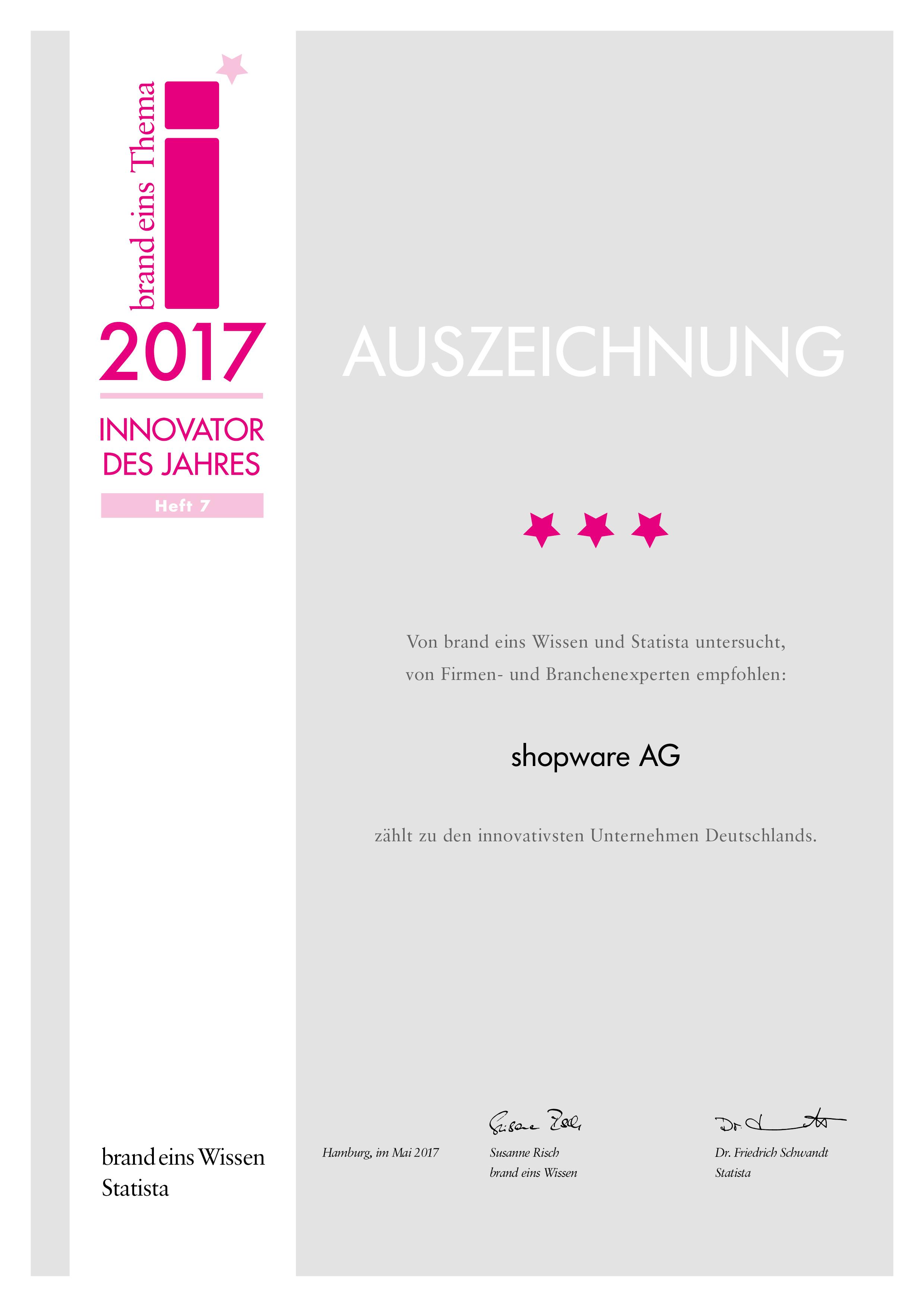 BrandEins_Urkunde_shopware_AG