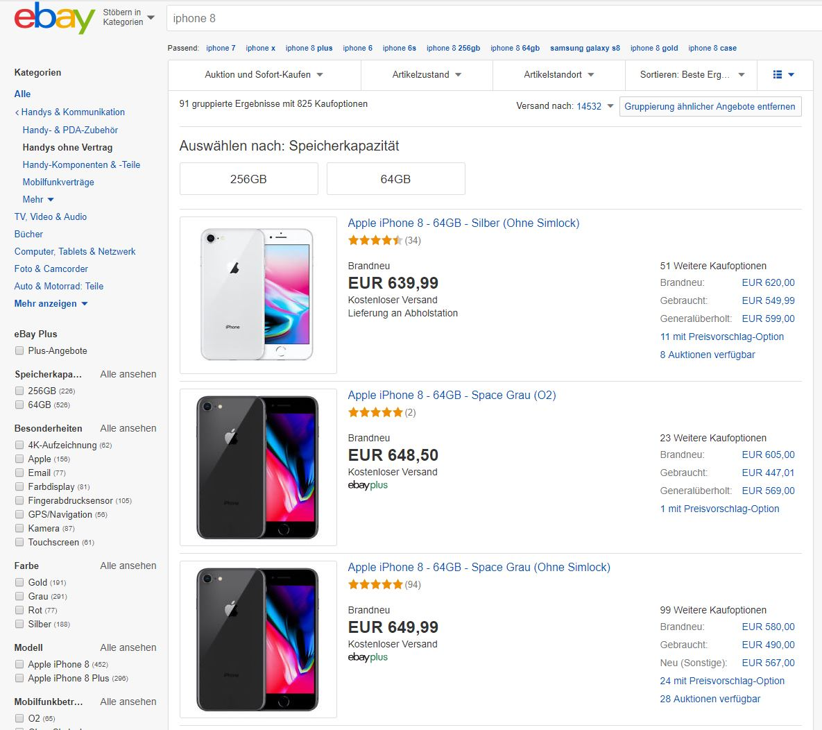 Die neue eBay-Suchergebnisseite nach der Einführung der produktbasierten Kauferfahrung