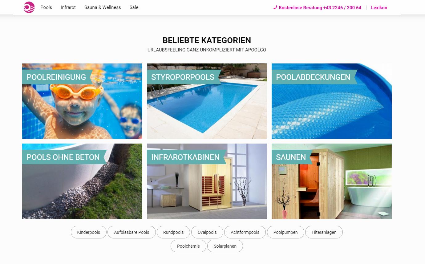Apoolco onlineshop auf Basis von Shopware