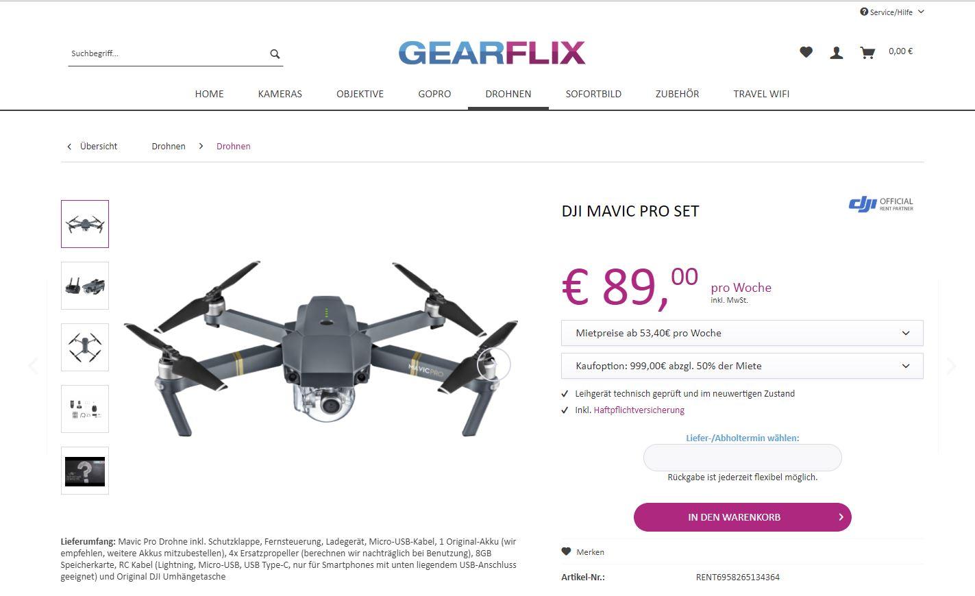 Beim Shopware-Shop GEARFLIX Technik einfach mieten
