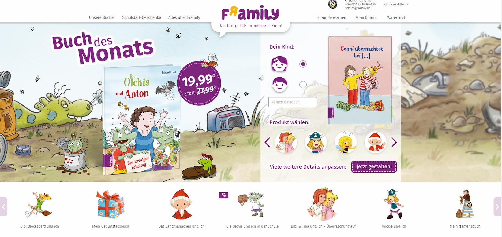 Onlineshop von Framily auf Basis von Shopware
