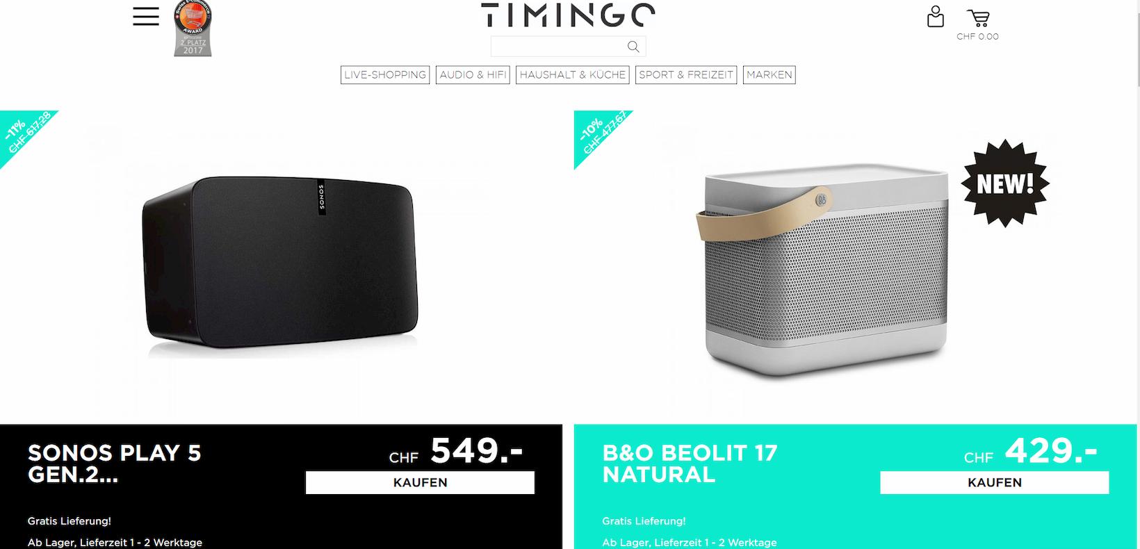 TIMINGO Onlineshop auf Basis von Shopware