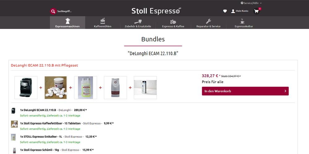 Bundle-Angebote im Shopware-Shop Stoll Espresso