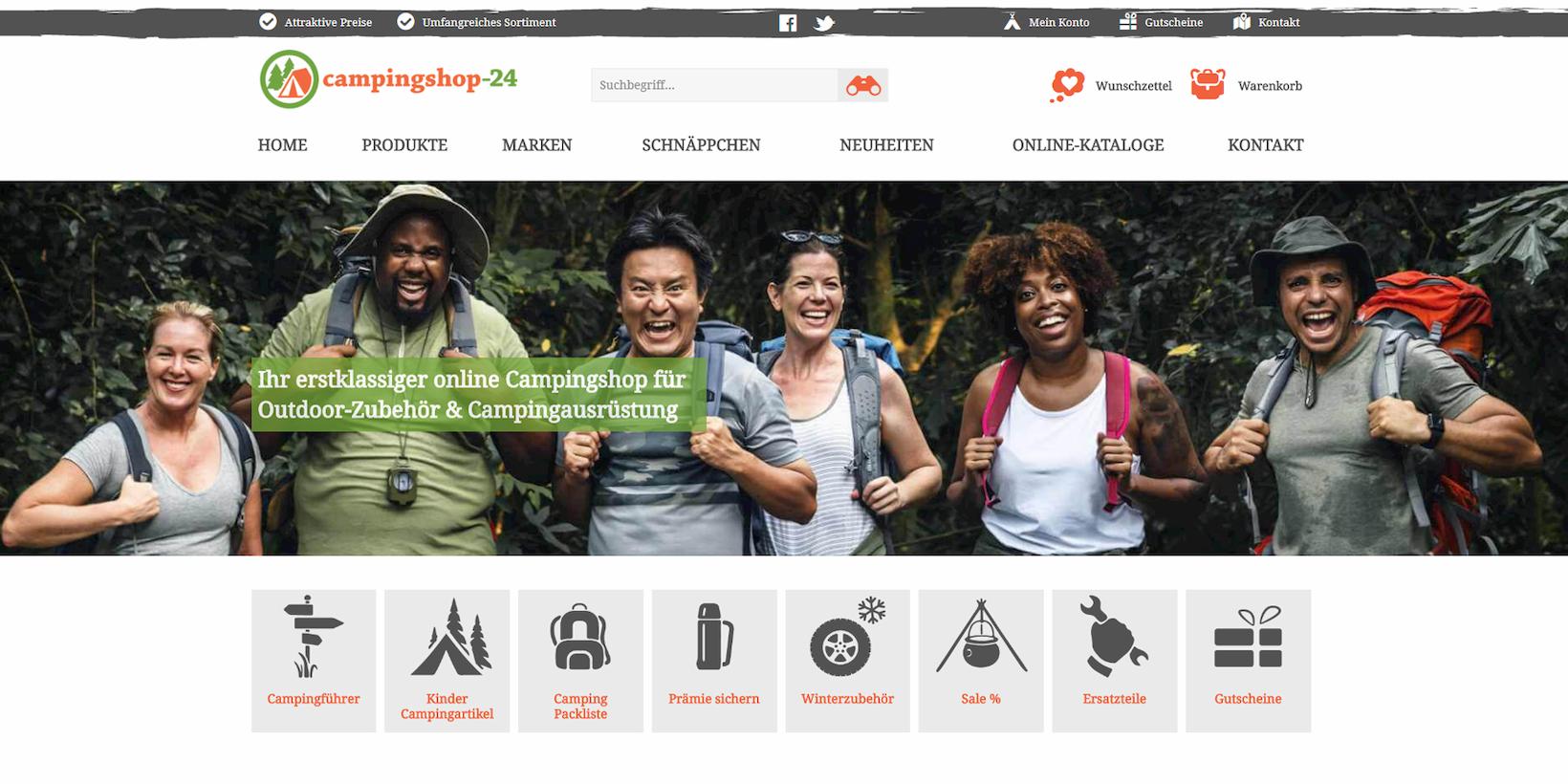 Campingshop-24 auf Basis von Shopware