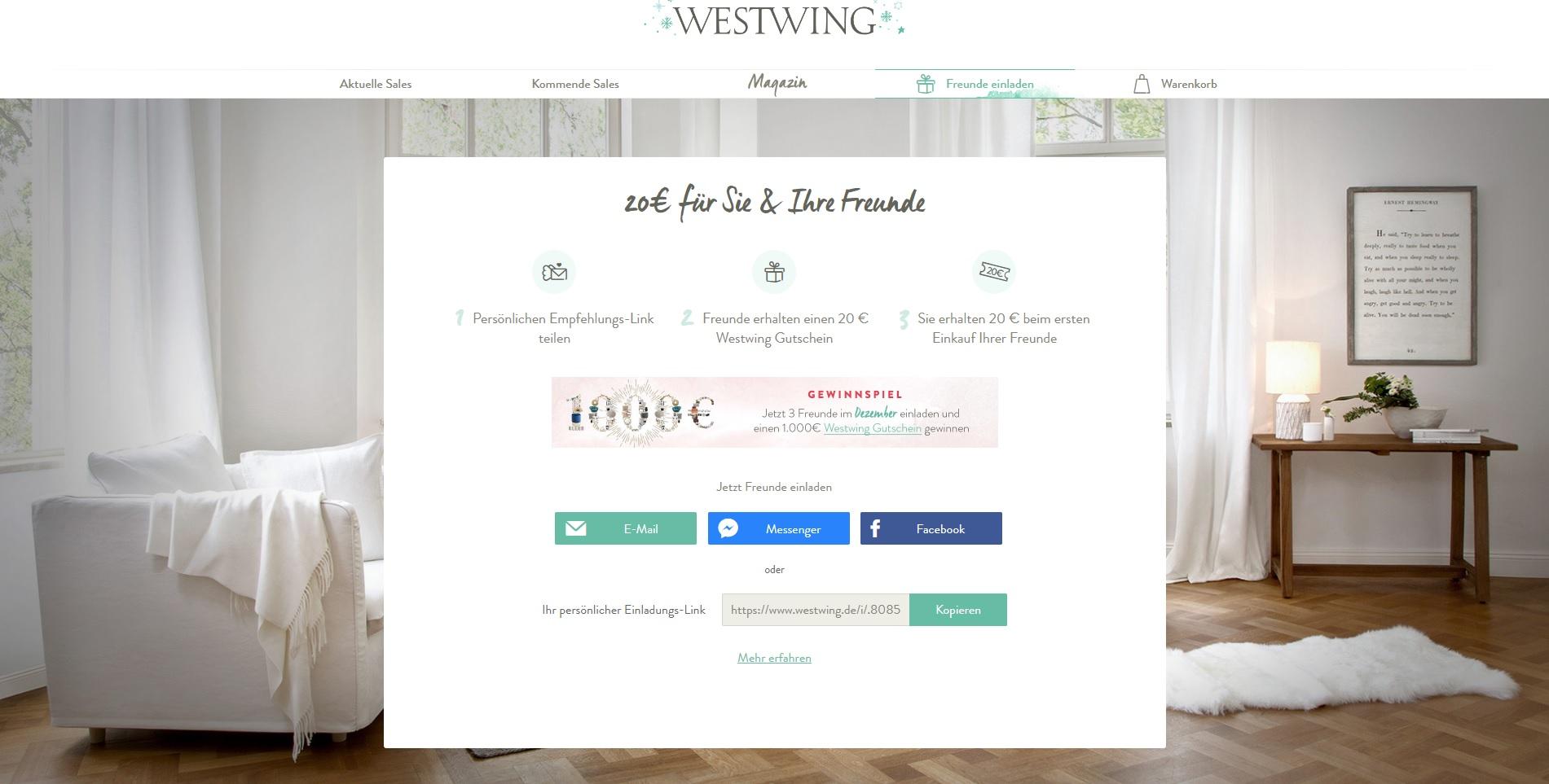 Beispiel Landingpage Westwing Freunde einladen