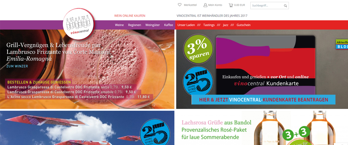 Shopware-Shop vinocentral setzt die Professional Edition ein