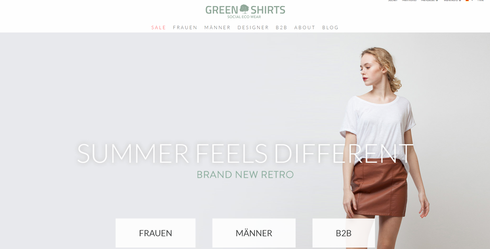 Green Shirts Onlineshop auf Basis von Shopware