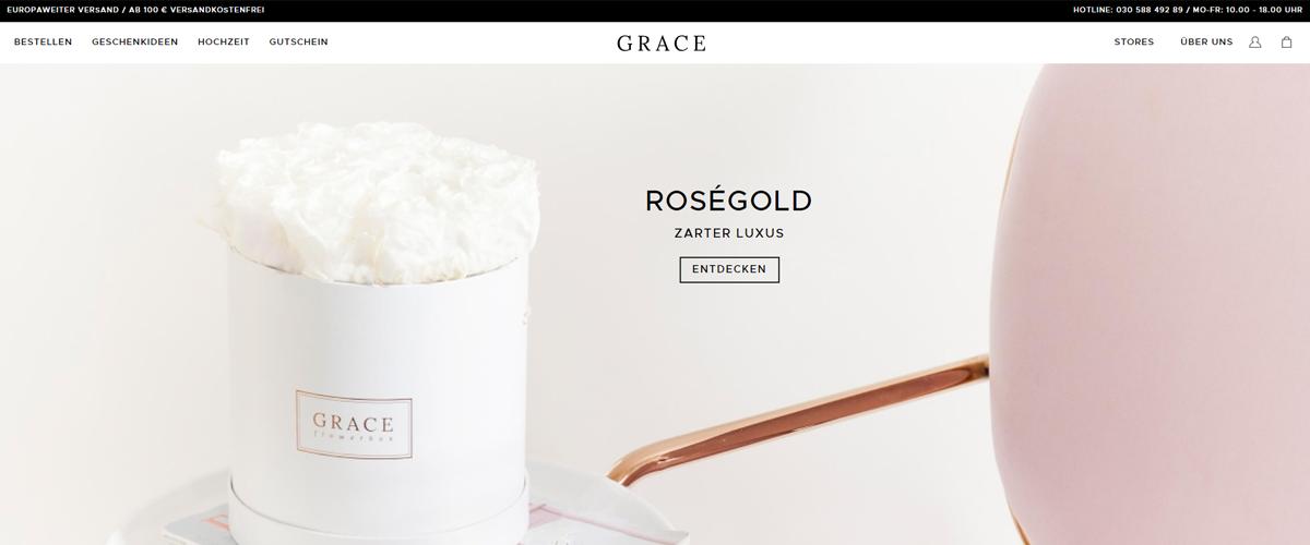Shopware-Shop GRACE Flowerbox setzt Professional Edition ein
