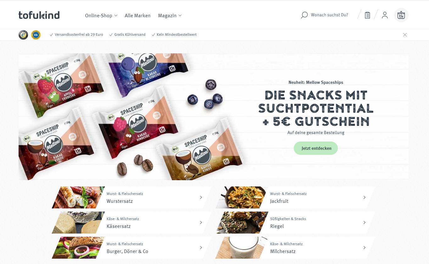 Onlineshop von tofukind auf Basis von Shopware
