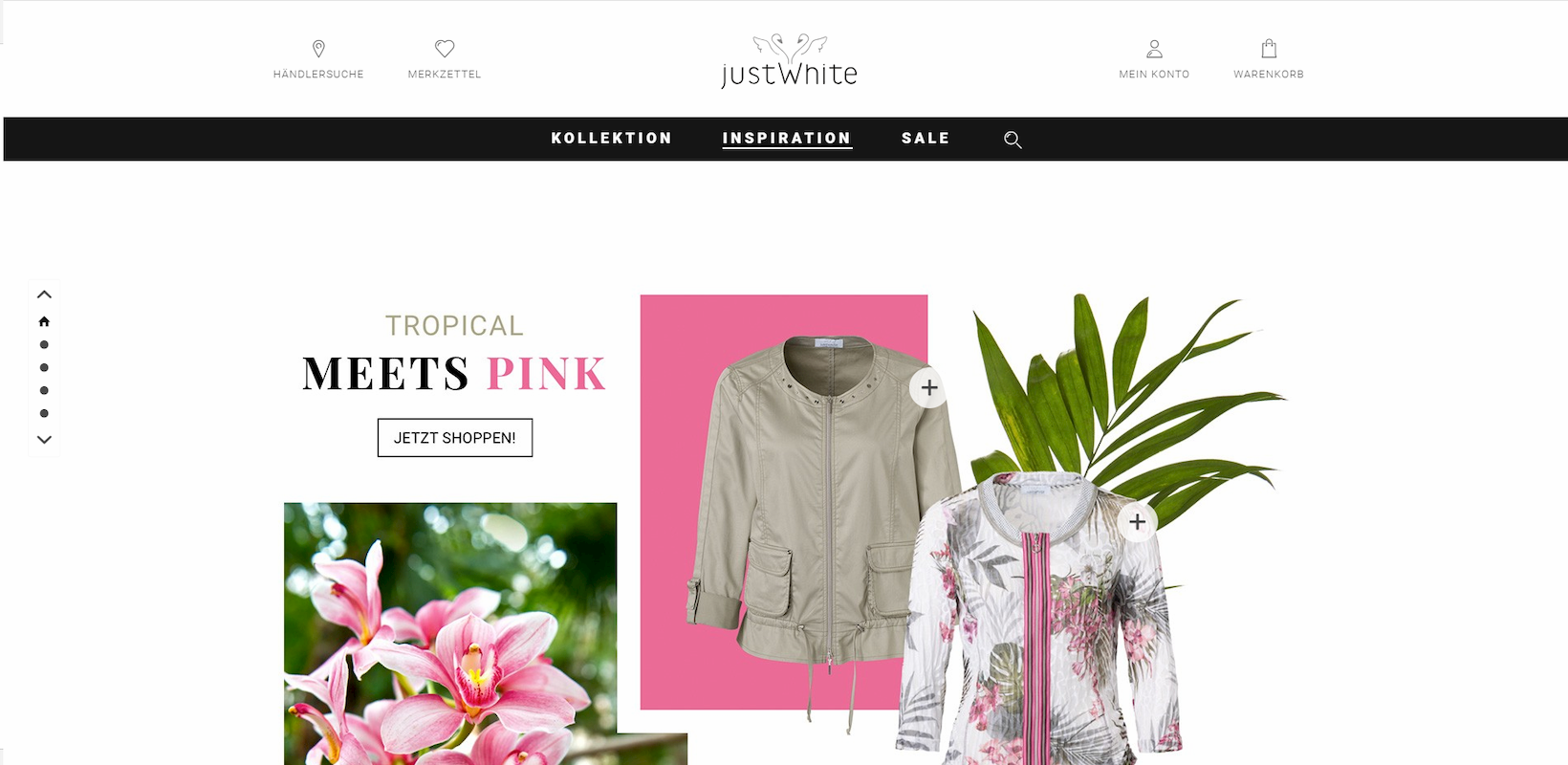 Onlineshop JUST WHITE auf Basis von Shopware