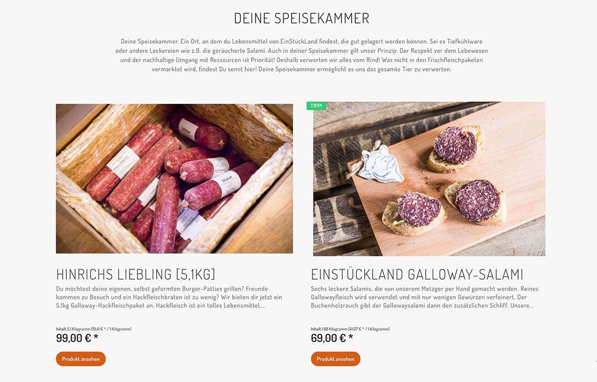 Onlineshop von EinStückLand auf Shopware-Basis