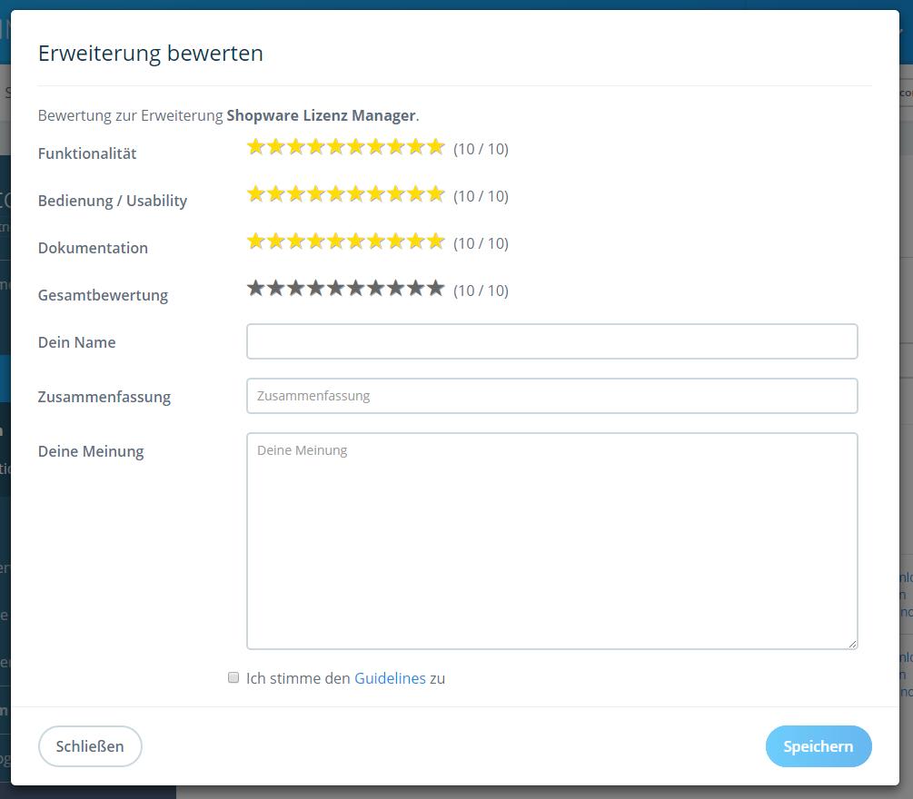 Plugin-Bewertungskriterien im Shopware Community Store